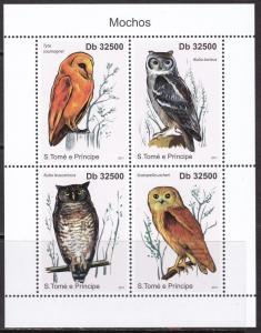 Sao Tome and Principe, Fauna, Birds, Owls MNH / 2011