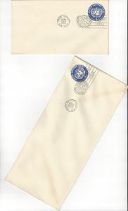United Nations U2 & 2a, Postal Stationery,  No Cachet FDC