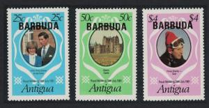 Barbuda Charles and Diana Royal Wedding 2nd issue 3v SG#572-574 MI#568-570