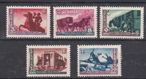 Serbia # 2N42-46, Centennial of Postal Service in Serbia, Hinged, 1/2 Cat.