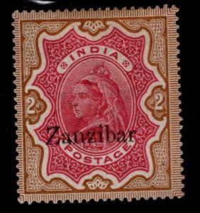 Zanzibar Scott 14 MH*1895 Queen Victoria nice color collectors mark