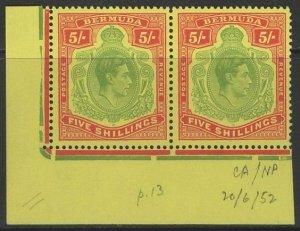 BERMUDA SG118g 1950 5/= GREEN & SCARLET/YELLOW p13 CHALKY PAPER MNH PAIR