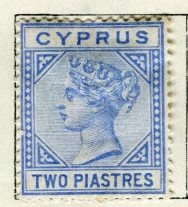 CYPRUS; 1892 classic QV Crown CA issue fine Mint hinged 2Pi. value