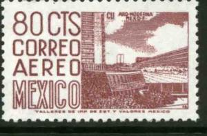 MEXICO C422, 80c 1950 Def 7th Issue Fluor printing FRONT. MINT, NH. F-VF.