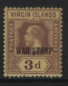 VIRGIN ISLANDS, MR2, HINGED, 1916-17, Overprinted