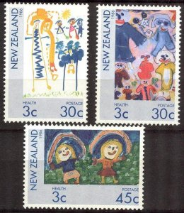 New Zealand 1986 Art Paintings Children's drawings set of 3 MNH**