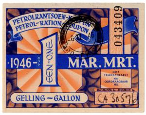 (I.B) South Africa Revenue : Petrol Ration 1 Gallon (1946)