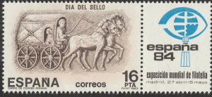 SPAIN 2344, STAMP DAY AND SHOW W/LABEL. MINT, NH. F-VF. (145)