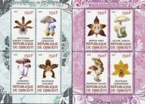 Djibouti 2012 Mushroom Orchid Fungi Plants Flowers Flora Nature 2 M/S Stamps MNH
