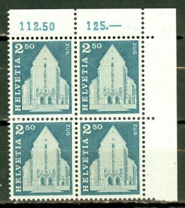 Switzerland 454 MNH corner block of 4 CV $23