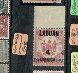 LABUAN  (P0309B) SG 136A  4C/50C DOUBLE OVPT TOP MARGIN COPY CEREMEUGA CERT MNH