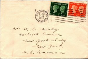Victoria & George ½d + 3d stamps Birkenhead to New York City cover 1940 airmail
