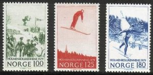 Norway 1979 #741-3 MNH. Winter sports, Holmenkollen