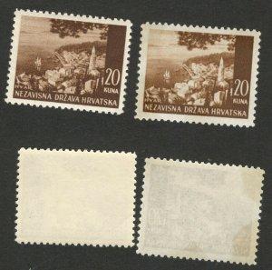 CROATIA - NDH - 2 MNH STAMPS, 20 kuna - DIFERENT COLOR -1941/42/43.