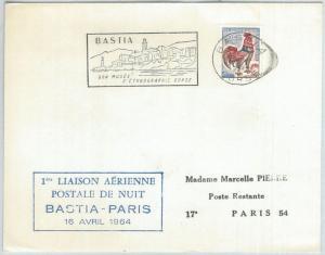 72146 - FRANCE - Postal History - FIRST night postal FLIGHT Bastia - Paris 1964