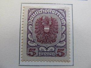 A13P25F157 Deutschosterreich German Austria 1920-21 5kr gray paper fine MH*