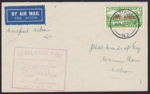 NEW ZEALAND 1932 West Coast survey flight cover Westport to Nelson..........2374