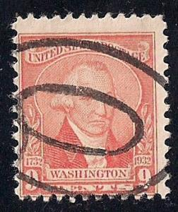 714 9 cent Washington, Williams, Pale Red Stamp used AVG