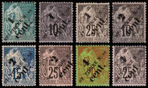 St. Pierre & Miquelon Scott 36-43 (1891-92) Mint H F-VF, CV $121.50 B
