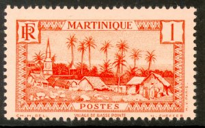 MARTINIQUE 1933-40 1c Basse-Pointe Village Pictorial Sc 133 MLH