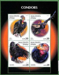 A2128 - MALDIVES, ERROR: MISPERF, M/S - 2018, Condors, Vultures, Birds of prey