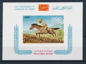[34101] Yemen 1967 Olympic games Mexico Horse Souvenir Sheet MNH