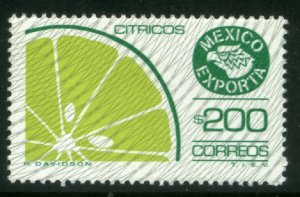MEXICO Exporta 1135, $200P Citrus Fruits Fluor Paper 6. W/BURELAGE. MINT, NH VF