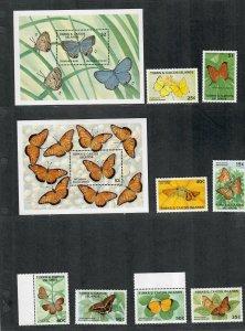 Turks+Caicos Sc#826-835 M/NH/VF, Butterflies, Cv. $30.40