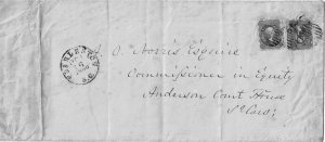 1860 Charleston, S.C. cancel on legal envelope franked 24c (2), 16x rate Sc. 37