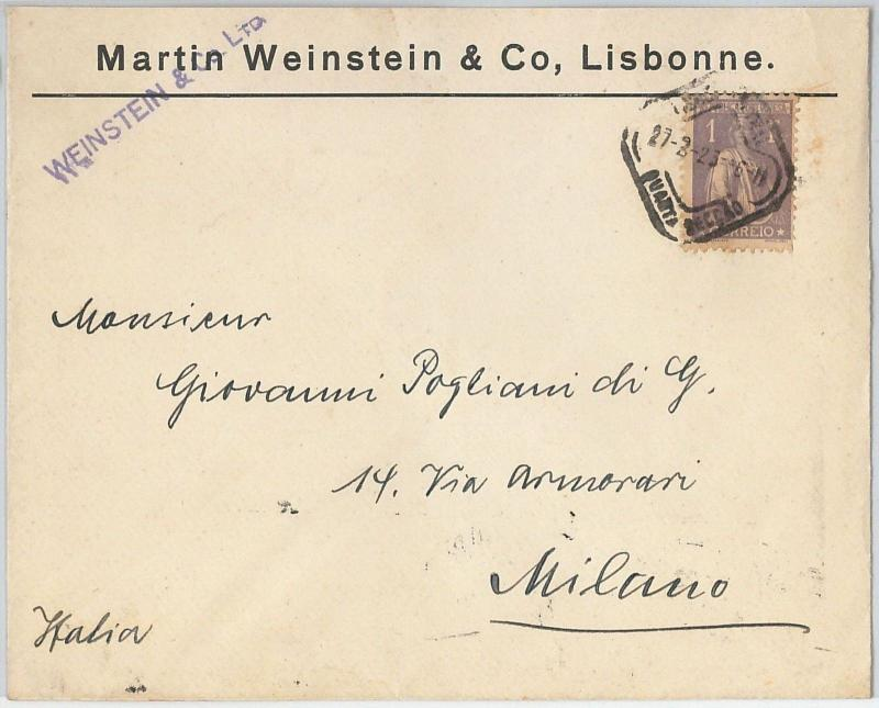 58242 -  PORTUGAL  - POSTAL HISTORY: COVER to ITALY - 1923