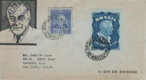 BRAZIL C56a FRANLIN DELANO ROOSEVELT FDC 1949
