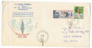 Czechoslovakia 1988 Cover to Poland Special Cancellation Birds Environment Radio