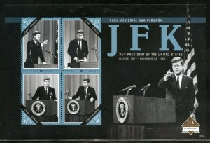 ST. KITTS 50th MEMORIAL ANNIVERSARY OF JOHN F. KENNEDY SHEET  MINT NEVER  HINGED
