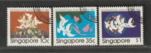 Singapore 1986 International Year of Peace 1986 set of 3V CTO SG#543-545