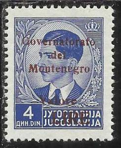 MONTENEGRO 1942 GOVERNATORATO RED OVERPRINTED SOPRASTAMPA ROSSA LIRE 4 D MNH ...