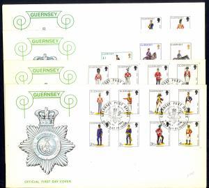 Guernsey Sc# 95-110 FDC Set/4 1974-1978 Militia