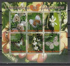 Benin, 2007 Cinderella issue. Butterflies & Orchids on a sheet of 6. Canceled.