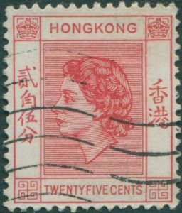 Hong Kong 1954 SG182a 25c rose-red QEII FU