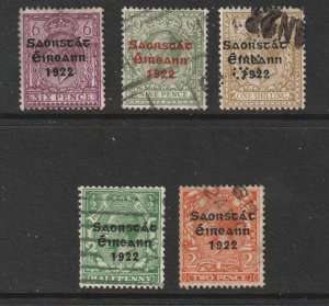 Ireland x 5 from the 1922 overprints