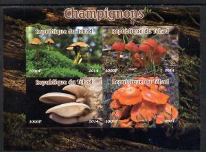 Chad 2014 Fungi #1 imperf sheetlet containing 4 values un...