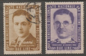 Cinderella or revenue Stamps 6-19-21- Italy no gum- used  political