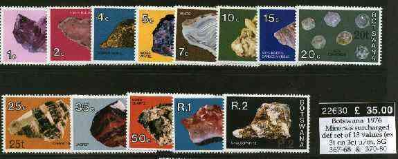 Botswana 1976 Minerals surcharged definitive set of 13 va...