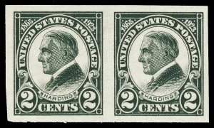 Scott 611 1923 2c Harding Memorial Imperforate Issue Mint Hz. Pair VF LH Cat $10