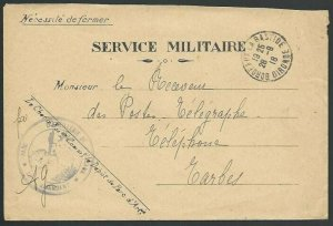 FRANCE 1918 SERVICE MILITAIRE cover Bordeaux to Tarbes.....................58049