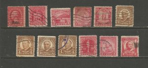 United States Postage Stamps Used (12 stamps)