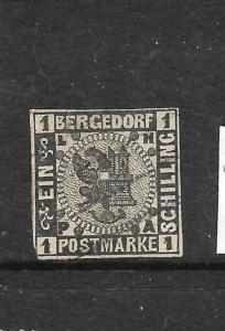 BERGEDORF  1861-67  1s  BLACK IMPERF  FU   SIGNEDx2   Sc 2  SG 4