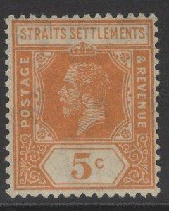 MALAYA STRAITS SETTLEMENTS SG225 1921 5c ORANGE DIE I MTD MINT