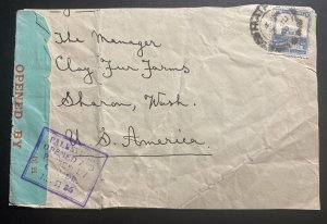 1940 Haifa Palestine Censored Cover To Shara Wa USA