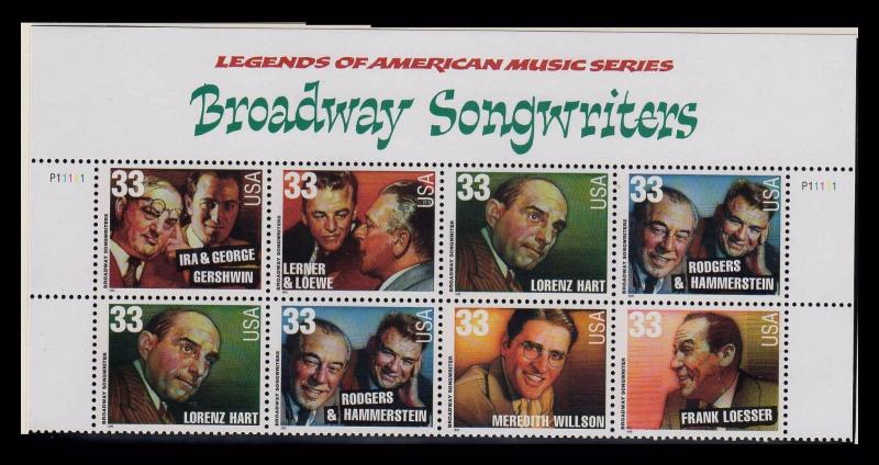 Broadway Songwriters 33¢ PLATE BLOCK Of 10 MNH With Header (pb1l)