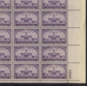US #838 3¢ Iowa Territory, Complete sheet of 50, og, NH, VF